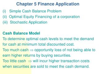 Chapter 5 Finance Application