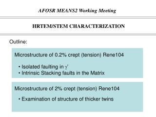 HRTEM/STEM CHARACTERIZATION