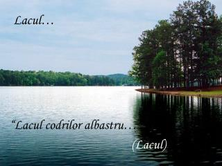 Lacul…