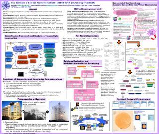 The Semantic e-Science Framework (SESF) (IN51B-1042) (tw.rpi/portal/SESF)