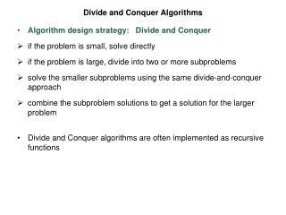 Divide and Conquer Algorithms