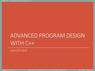 Advanced Program Design with C++