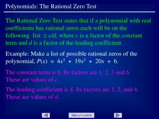 Polynomials: The Rational Zero Test