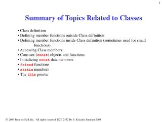 Summary of Topics Related to Classes