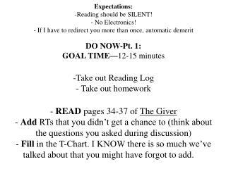 DO NOW-Pt. 1: GOAL TIME— 12-15 minutes Take out Reading Log Take out homework