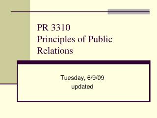 PR 3310 Principles of Public Relations