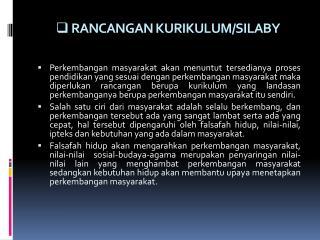 RANCANGAN KURIKULUM/SILABY
