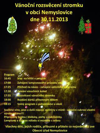 Vánoční rozsvěcení stromku v obci Nemyslovice dne 30.11.2013