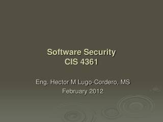 Eng. Hector M Lugo-Cordero, MS February 2012