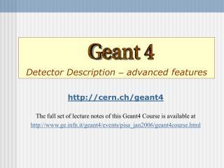 Detector Description – advanced features