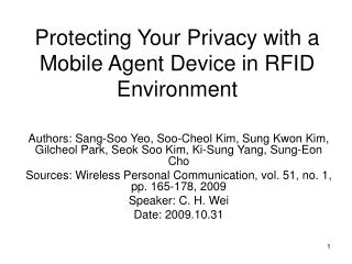 Protecting Your Privacy with a Mobile Agent Device in RFID Environment