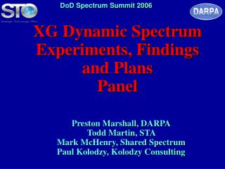 XG Dynamic Spectrum Experiments, Findings and Plans Panel