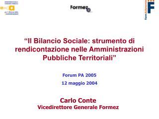 Carlo Conte Vicedirettore Generale Formez