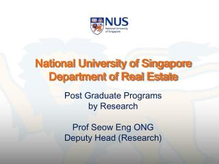 National University of Singapore Department of Real Estate