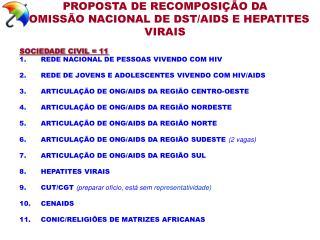 PROPOSTA DE RECOMPOSIÇÃO DA COMISSÃO NACIONAL DE DST/AIDS E HEPATITES VIRAIS