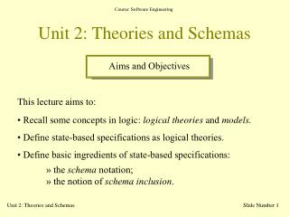 Unit 2: Theories and Schemas