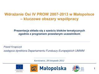 Wdrażanie Osi IV PROW 2007-2013 w Małopolsce – kluczowe obszary współpracy