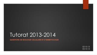 Tutorat 2013-2014