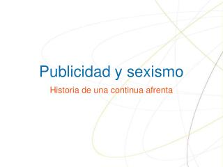 Publicidad y sexismo