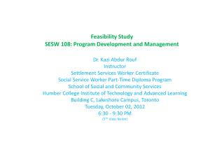 Feasibility Study SESW 108: Program Development and Management