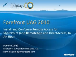 Forefront UAG 2010