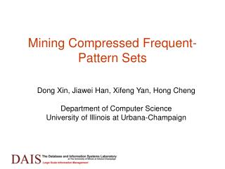 Mining Compressed Frequent-Pattern Sets