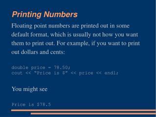 Printing Numbers