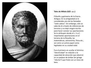 Tales de Mileto (625 a.c.)