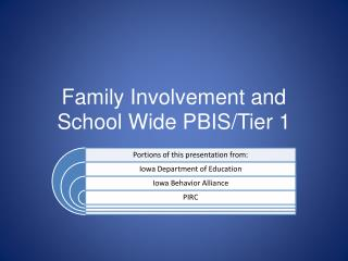 Family Involvement and School Wide PBIS/Tier 1