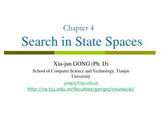 Chapter 4  Search in State Spaces