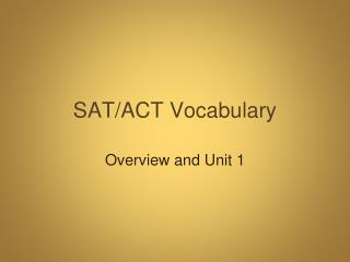 SAT/ACT Vocabulary