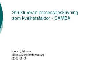 Strukturerad processbeskrivning som kvalitetsfaktor - SAMBA