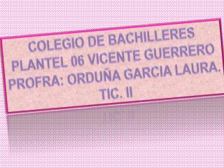 COLEGIO DE BACHILLERES PLANTEL 06 VICENTE GUERRERO PROFRA: ORDUÑA GARCIA LAURA. TIC. II