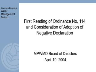 First Reading of Ordinance No. 114 and Consideration of Adoption of Negative Declaration