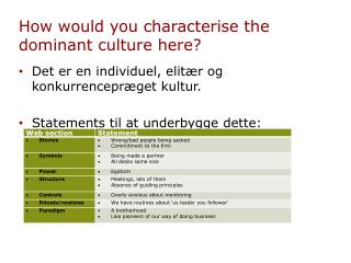 How would you characterise the dominant culture here?