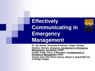 Effectively Communicating in Emergency Management
