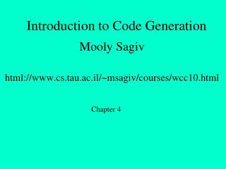 Introduction to Code Generation