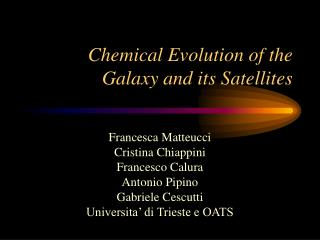 Chemical Evolution of the Galaxy and its Satellites
