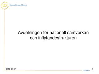 Avdelningen för nationell samverkan och inflytandestrukturen