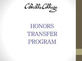 HONORS TRANSFER PROGRAM