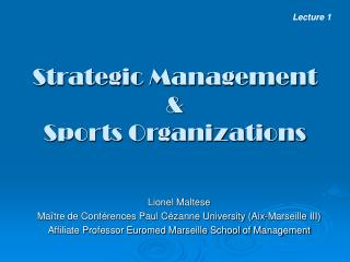 Strategic  Management  & Sports Organizations