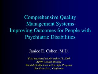 Comprehensive Quality  Management Systems