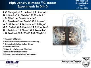 High Density H-mode  13 C-Tracer  Experiments in DIII-D