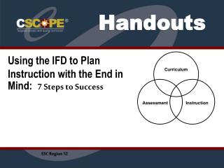 Using the IFD to Plan Instruction with the End in Mind: 7 Steps to Success