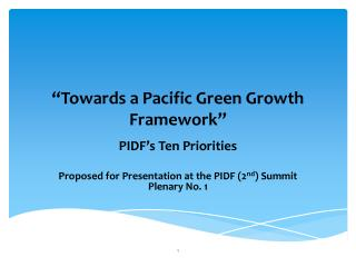 """Towards a Pacific Green Growth Framework"""