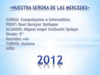 CURSO: Computacion e Informática PROF: Raul Garayar Gallegos