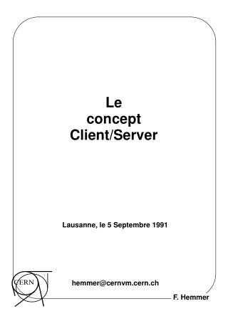 Le concept Client/Server