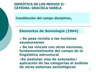 SEMIÓTICA DE LOS MEDIOS II - CÁTEDRA: GRACIELA VARELA