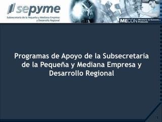 Programas de Apoyo de la Subsecretaría de la Pequeña y Mediana Empresa y Desarrollo Regional
