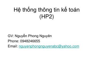 Hệ thống thông tin kế toán (HP2)